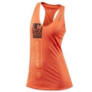 Reebok les mills bright orange racer back tank